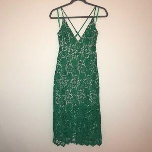ASOS Midi Green Lace Dress